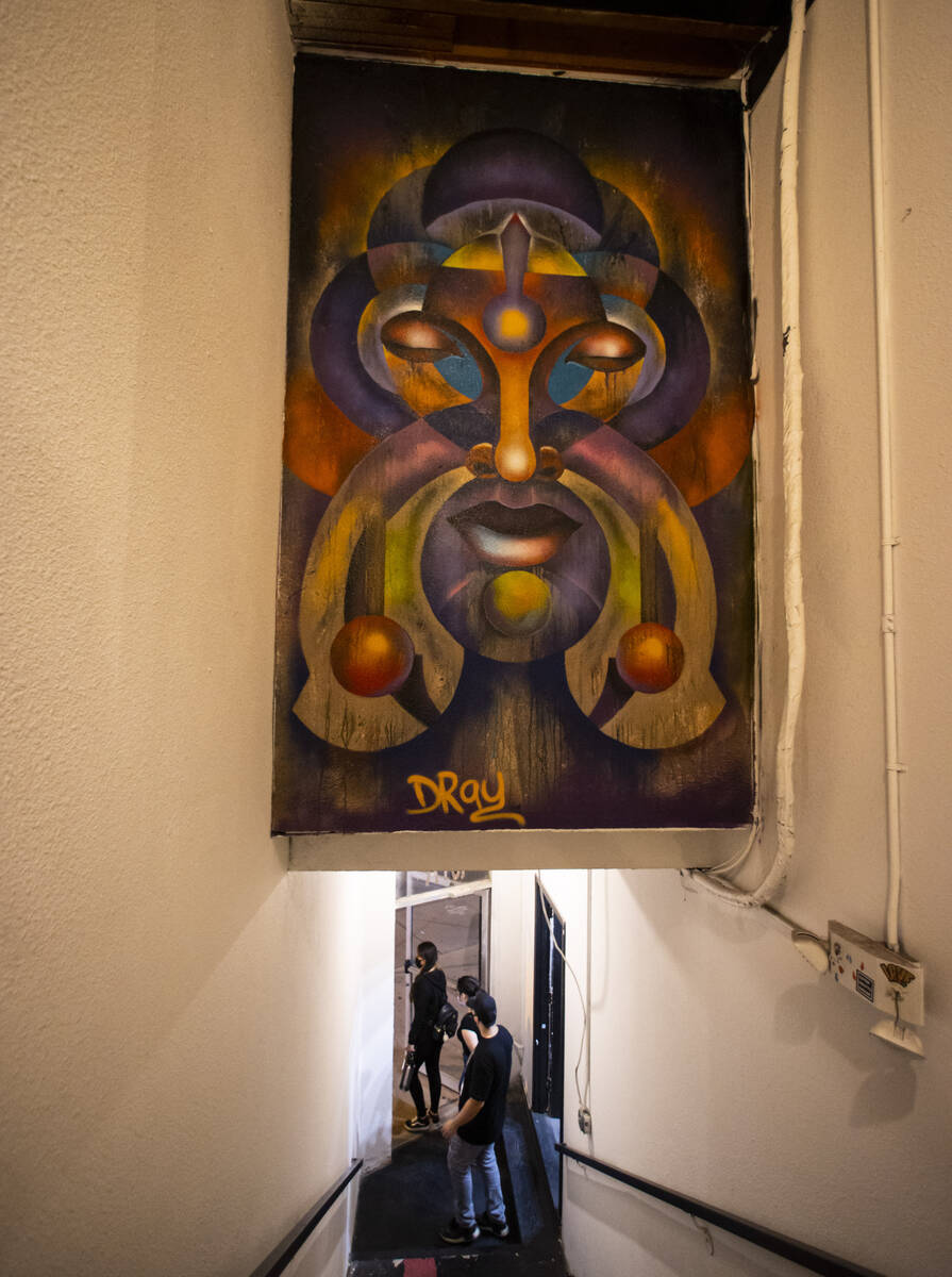 A piece by artist Dray is pictured in the Arts Factory during First Friday in the Arts District ...