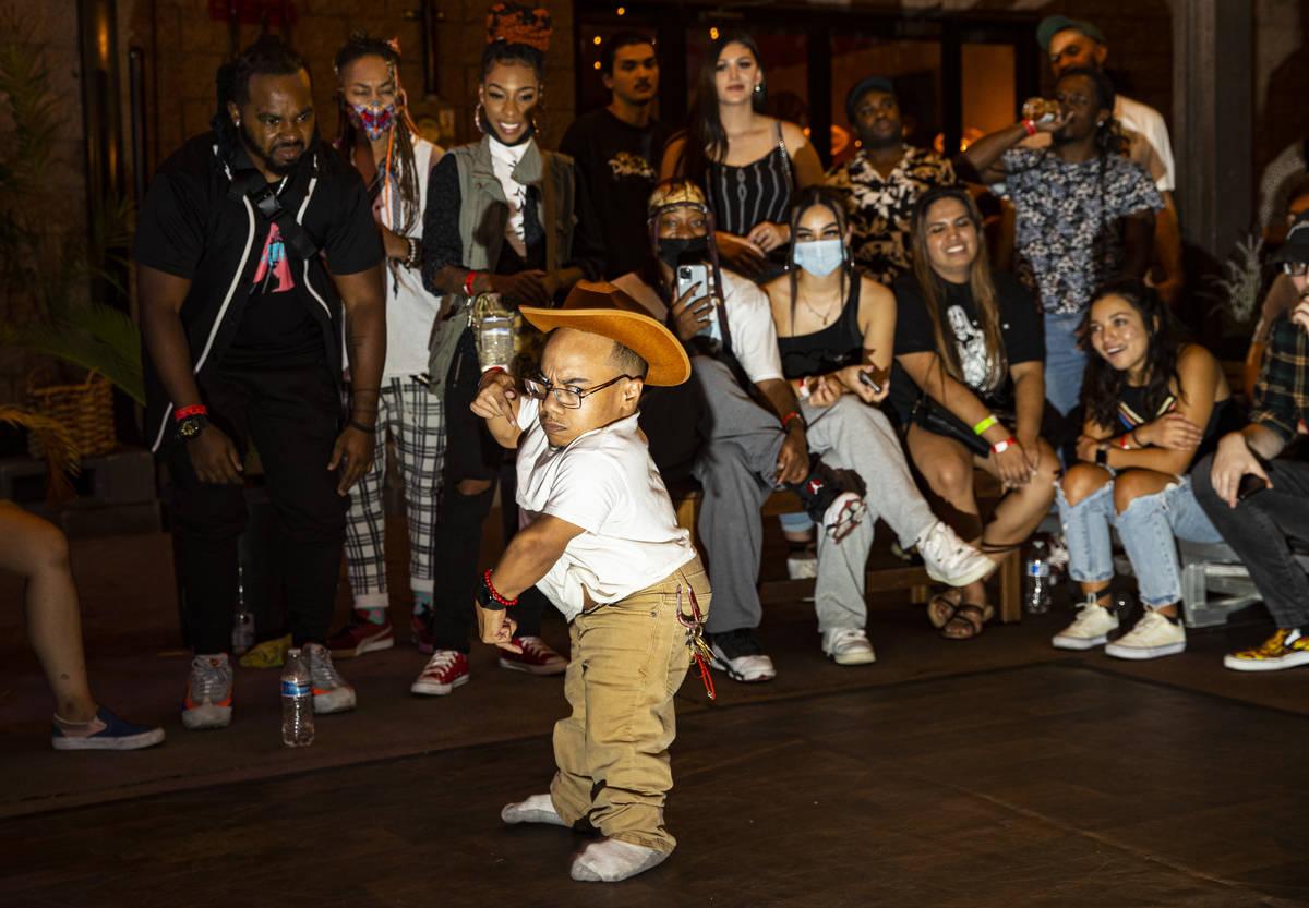 "Comedian and dancer ""K1ng Dwarf"" participates in a dance battle at Ninja Karaoke during First F ..."