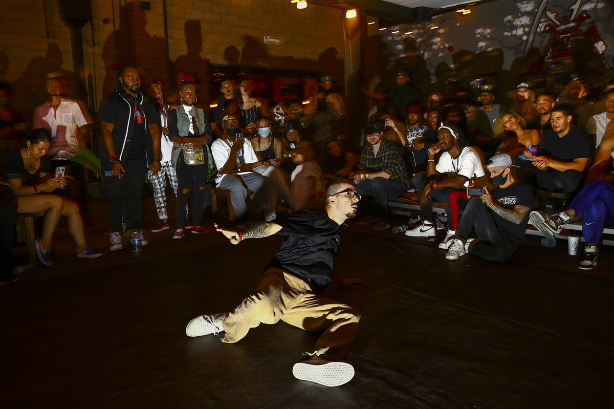 """Anthony """"A-HAT"""" Hatmaker competes to win in the dance battle at Ninja Karaoke during First ..."""