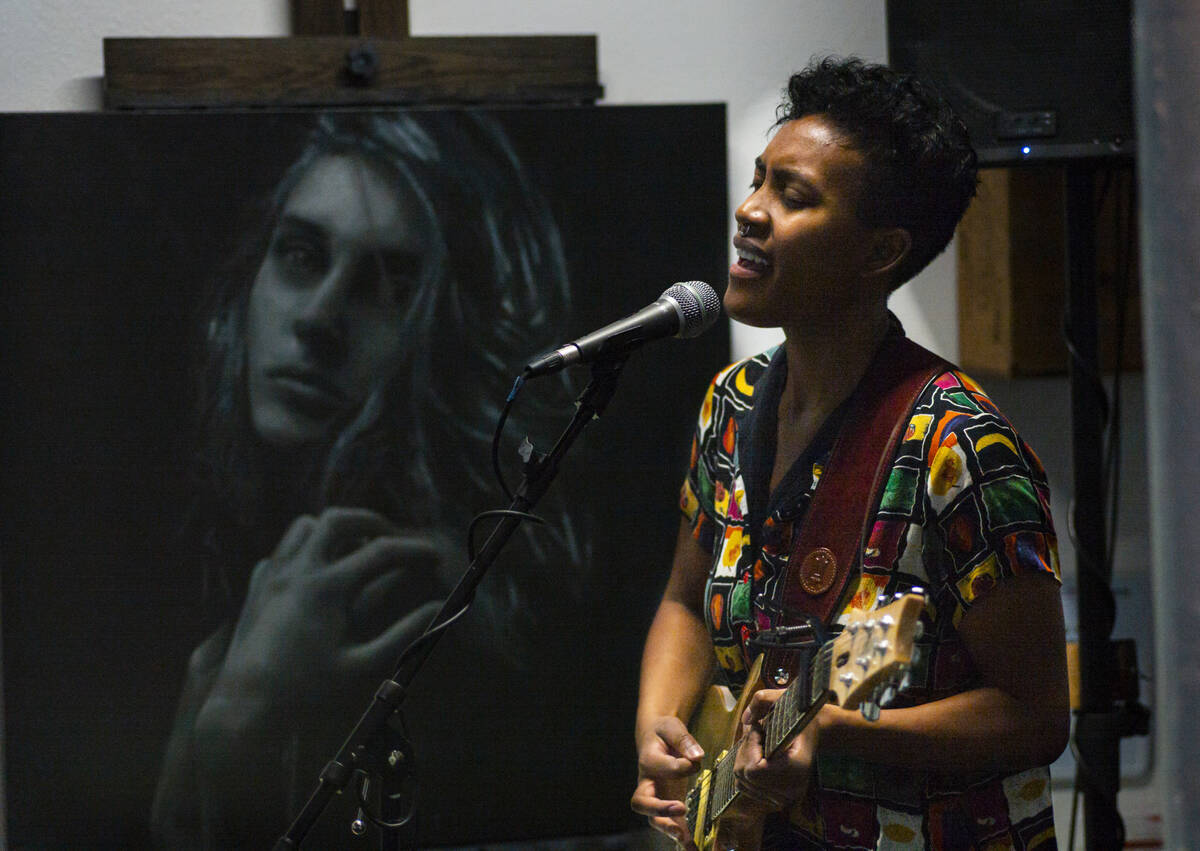 Artist Kewks in Paris performs during First Friday in the Arts District of downtown Las Vegas o ...