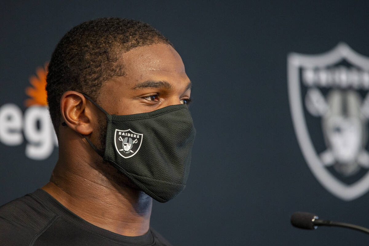 Raiders middle linebacker Denzel Perryman speaks to media at the Raiders Headquarters at the In ...