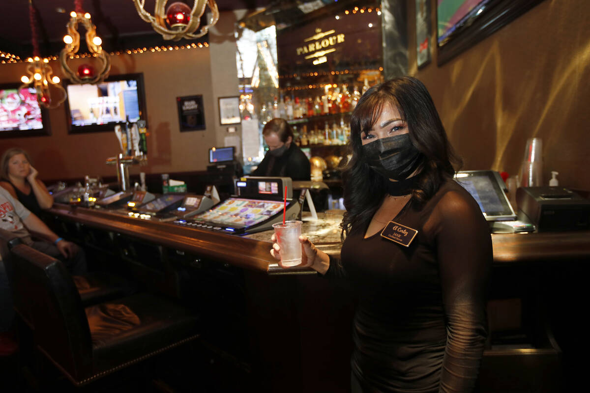Cocktail Server Jane Cleary smiles in The Parlour at El Cortez in Las Vegas, Saturday, Sept. 4, ...
