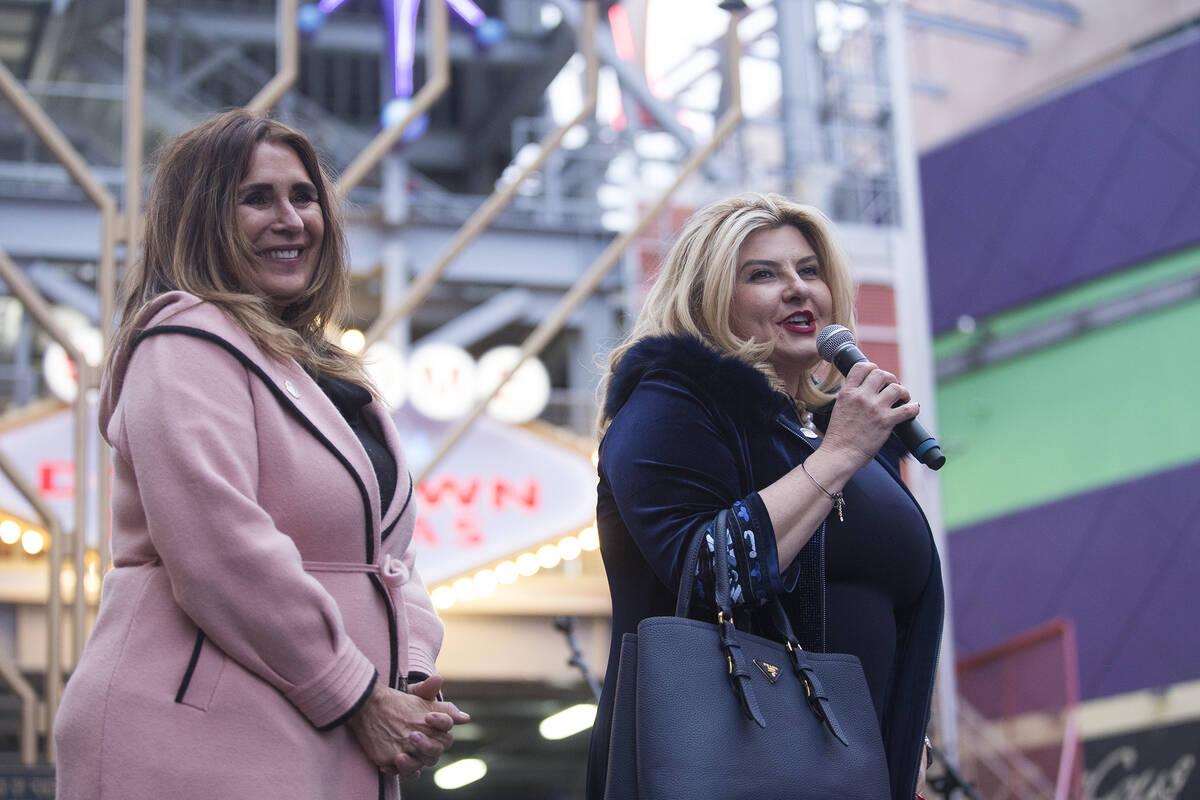 Las Vegas City Councilwoman Michele Fiore addresses the crowd next to Las Vegas City Councilwom ...
