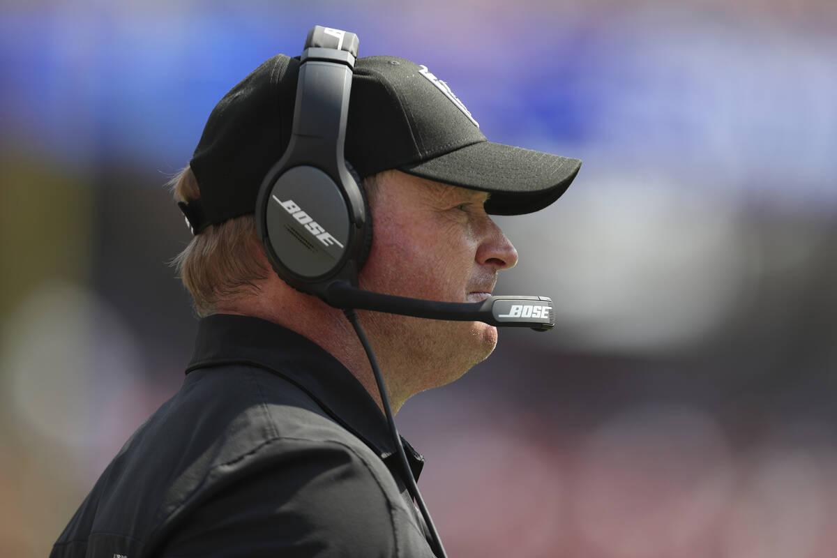 Las Vegas Raiders head coach Jon Gruden watches during the second half of his team's NFL presea ...