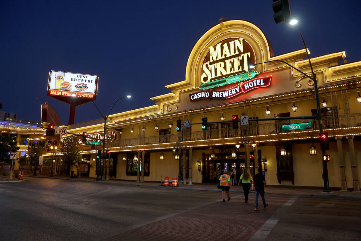 Main Street Station just before the 6 a.m. reopening of the hotel-casino in downtown Las Vegas ...