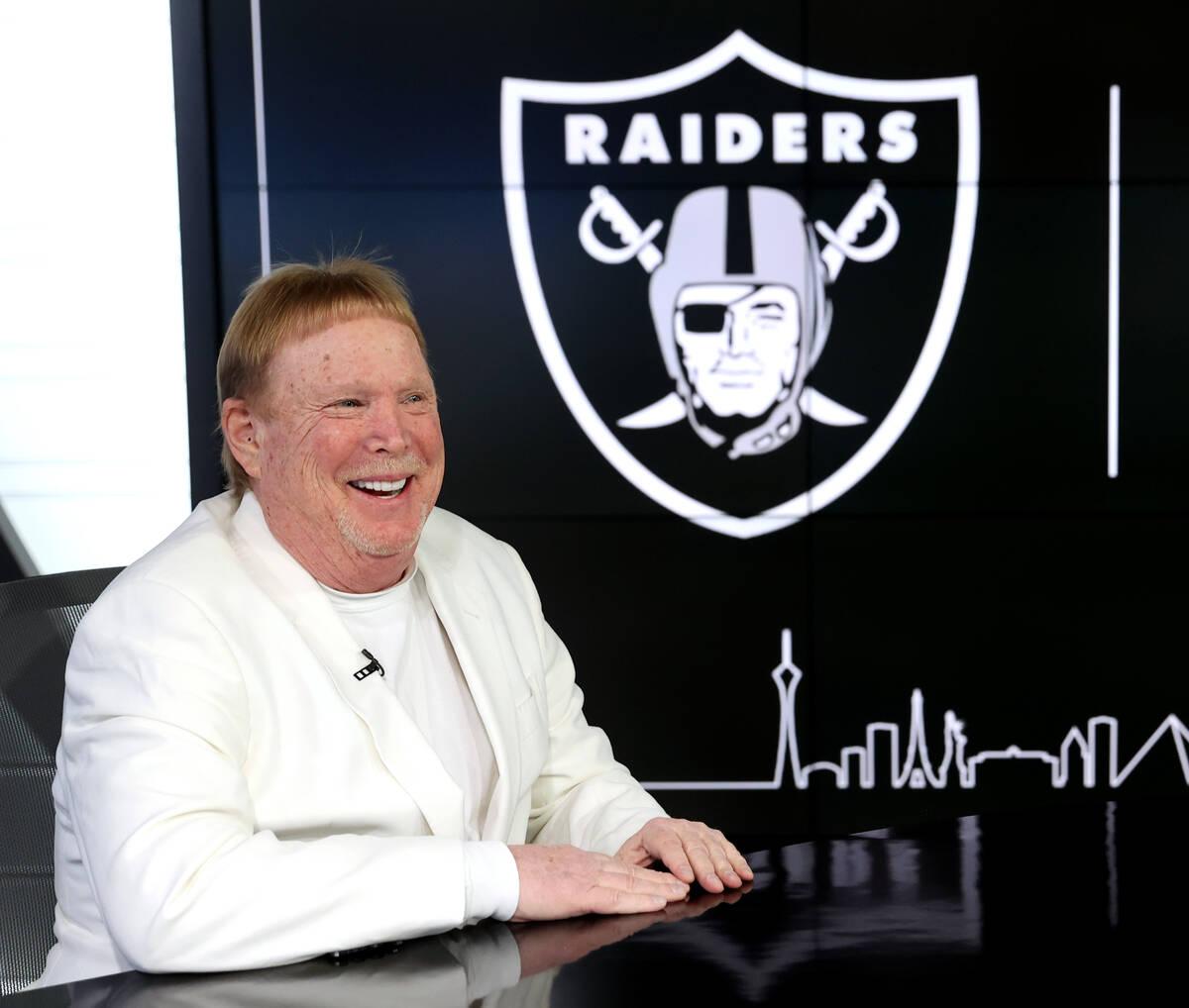 Raiders and Las Vegas Aces owner Mark Davis in the TV studio at Raiders' headquarters in ...