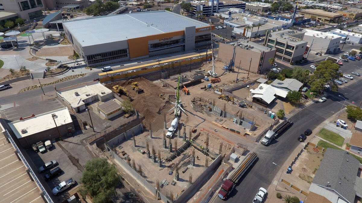 The Watermark construction site, roughly $50 million mixed-use project directly across from the ...