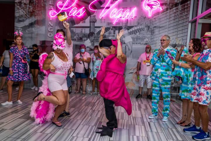 Fran Bigler of Las Vegas, left, and Joni Snellgrove of Dillingham, Alaska, have a pose off duri ...