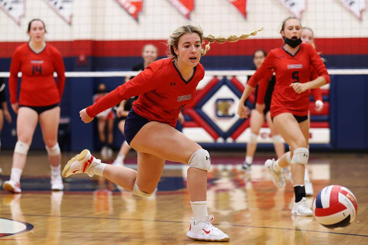 Coronado's Marlena Tollestrup (11) watches the ball fall fair for a score by Liberty in a girls ...