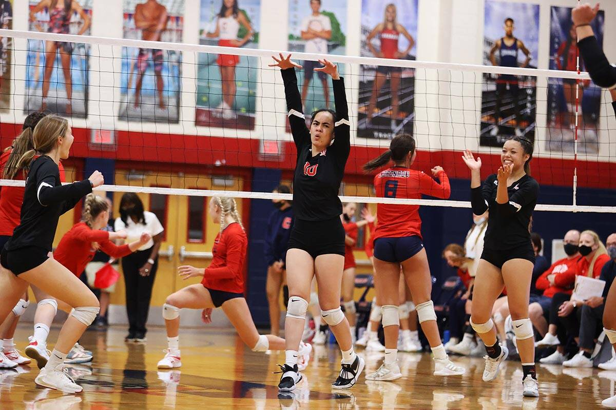 Liberty's Sophia Ortquist (10) reacts after a score against Coronado in a girls volleyball game ...