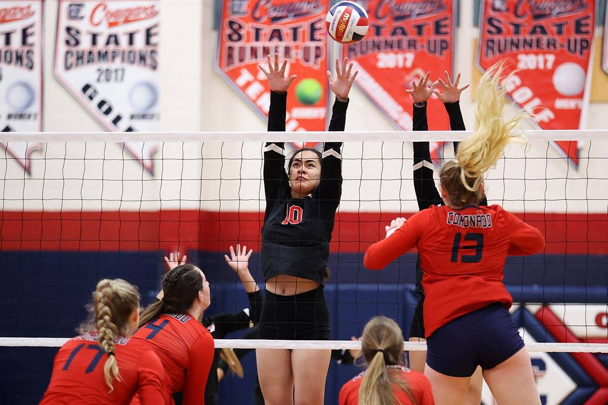 Liberty's Sophia Ortquist (10) leaps for a block against Coronado in a girls volleyball game at ...