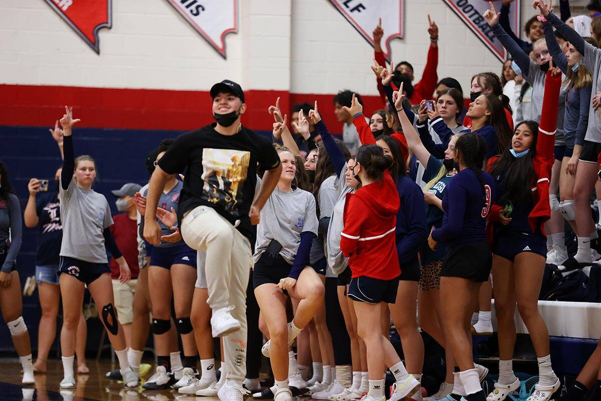 Fans react after a score by Liberty against Coronado in a girls volleyball game at Coronado Hig ...