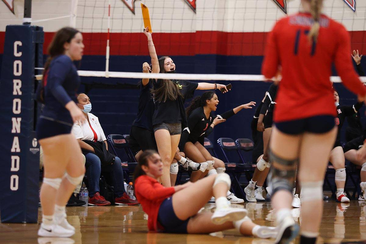 Liberty's bench reacts after a play against Coronado in a girls volleyball game at Coronado Hig ...