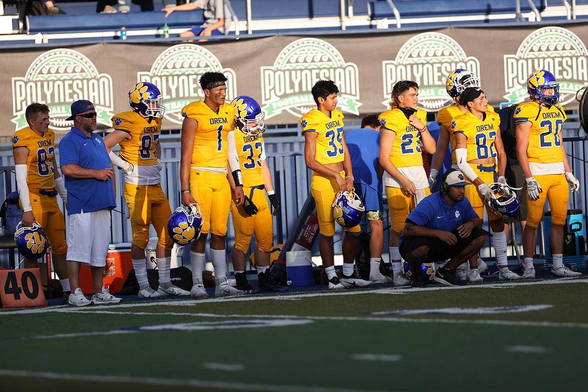 Orem's bench watches the game in the third quarter of a football game against Desert Pines at B ...