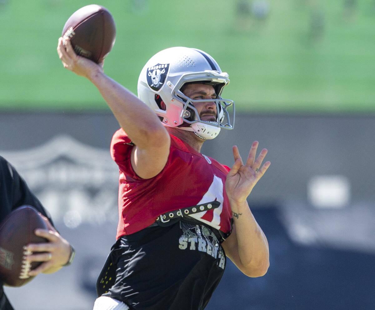 Raiders quarterback Derek Carr (4) throws the football during team practice at the Raiders Head ...