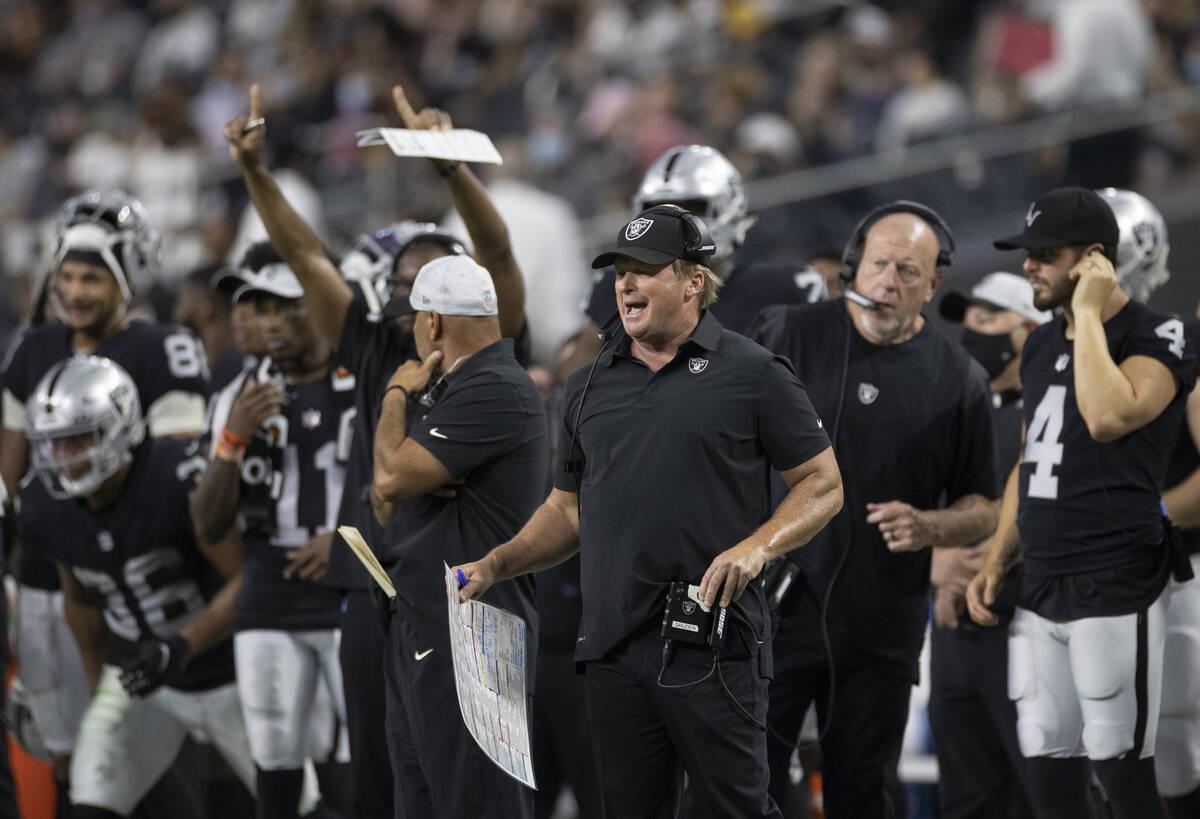 Raiders head coach Jon Gruden calls a play during an NFL preseason football game against the Se ...