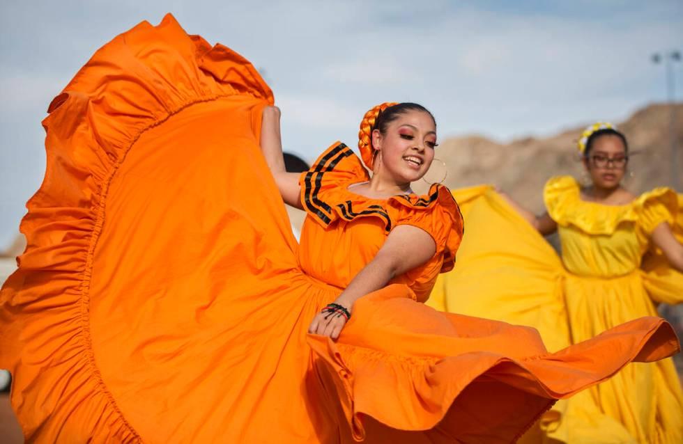 Jazmin Villezcas, left, with Ballet Folklorico Alborada at Sunrise Mountain High School, dances ...