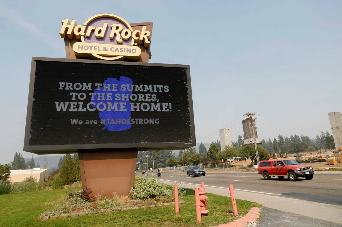 A welcome home sign is seen at the Hard Rock Hotel & Casino Highway 50 near Stateline, Nev., on ...