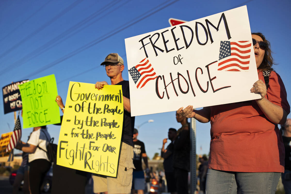 Hundreds of demonstrators with causes ranging from vaccination and mask mandates, to political ...