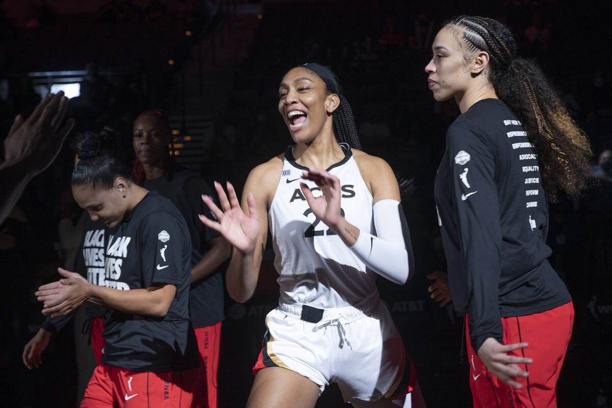 Las Vegas Aces forward A'ja Wilson (22) is announced in the starting lineup next to Las Vegas A ...