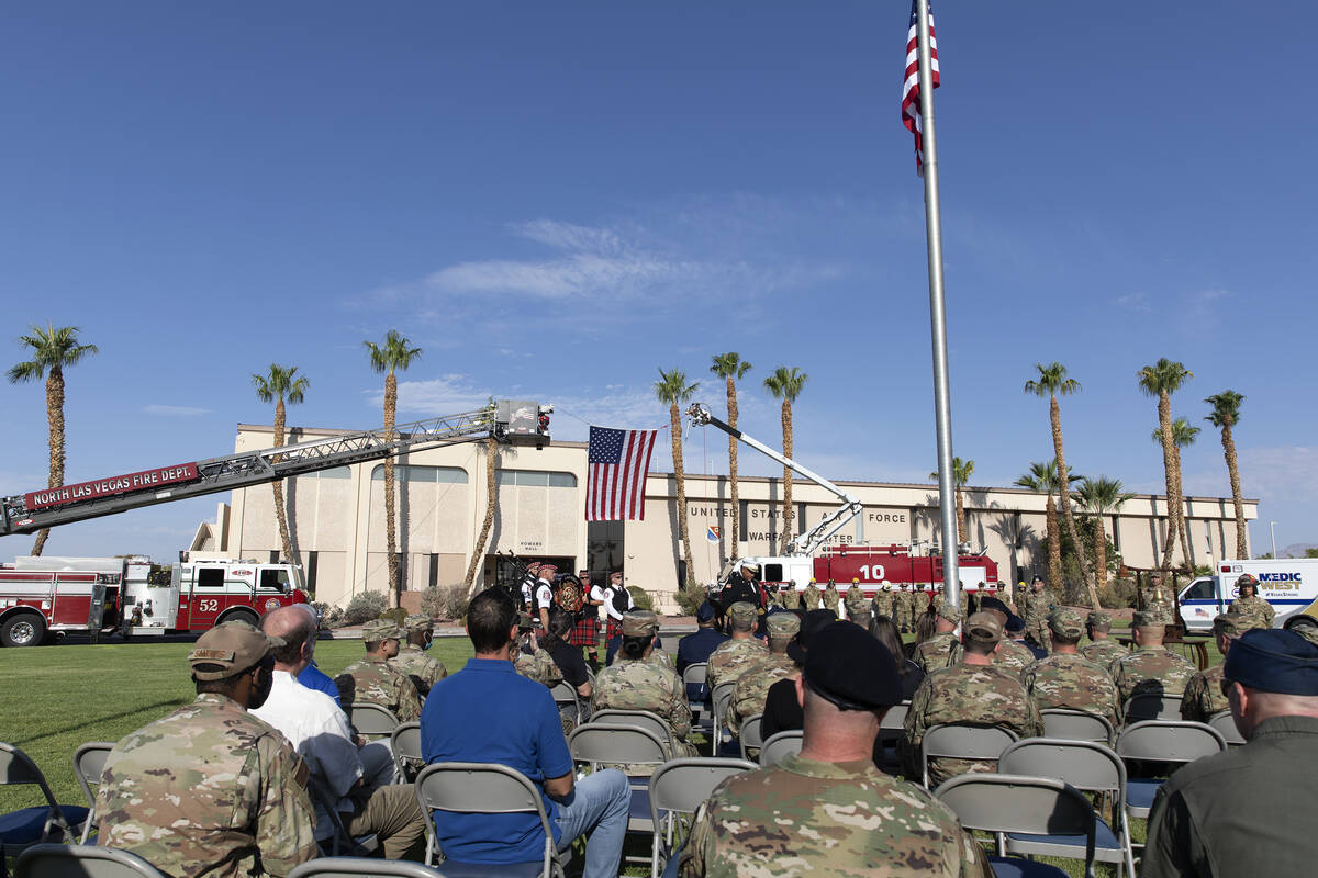 The Nellis Fire and Emergency Services 9/11 Memorial takes place at Nellis Air Force Base on Fr ...