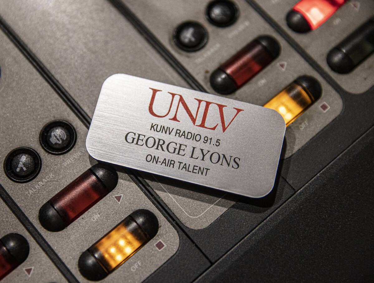 """George Lyons name tag sits on the soundboard during his radio show """"The Lyons' Den"""" o ..."""