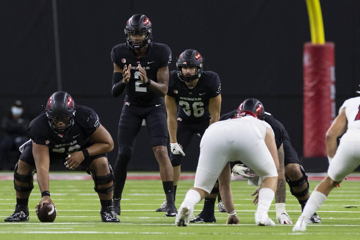UNLV Rebels quarterback Doug Brumfield (2) signals during the third quarter of an NCAA football ...
