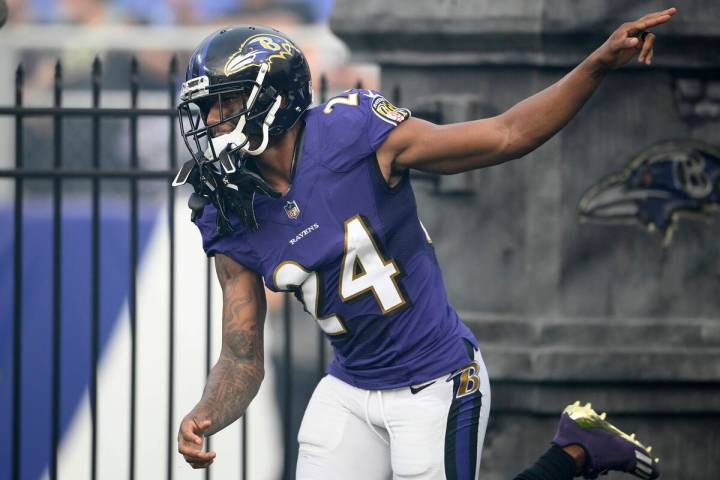 Baltimore Ravens cornerback Marcus Peters (24) prior to an NFL preseason football game against ...