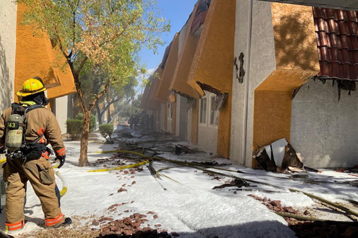 Crews battle a fire Saturday, Sept. 11, 2021, at Sundance Village Apartments on the 6500 block ...