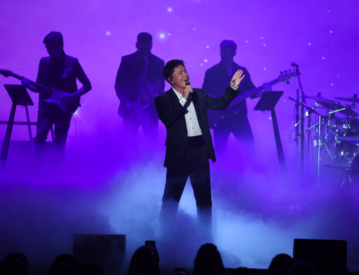Donny Osmond performs at Harrah's with Jesse Tobias on guitar on Aug. 31, 2021, in Las Vegas. ( ...