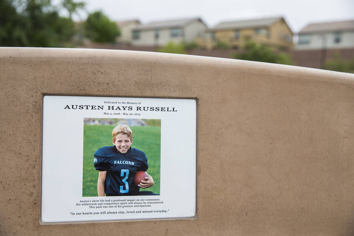 A photo of Austen Russell on one of the benches at Paradise Pointe Park is a permanent reminder ...