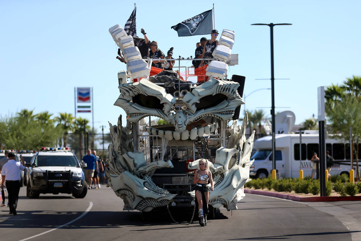 An art car arrives to Allegiant Stadium before the start of an NFL football game between the Ra ...