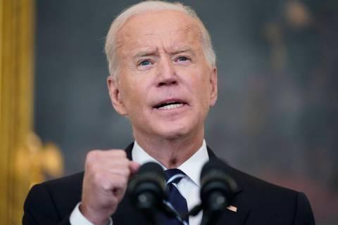 President Joe Biden speaks in the State Dining Room at the White House, Thursday, Sept. 9, 2021 ...