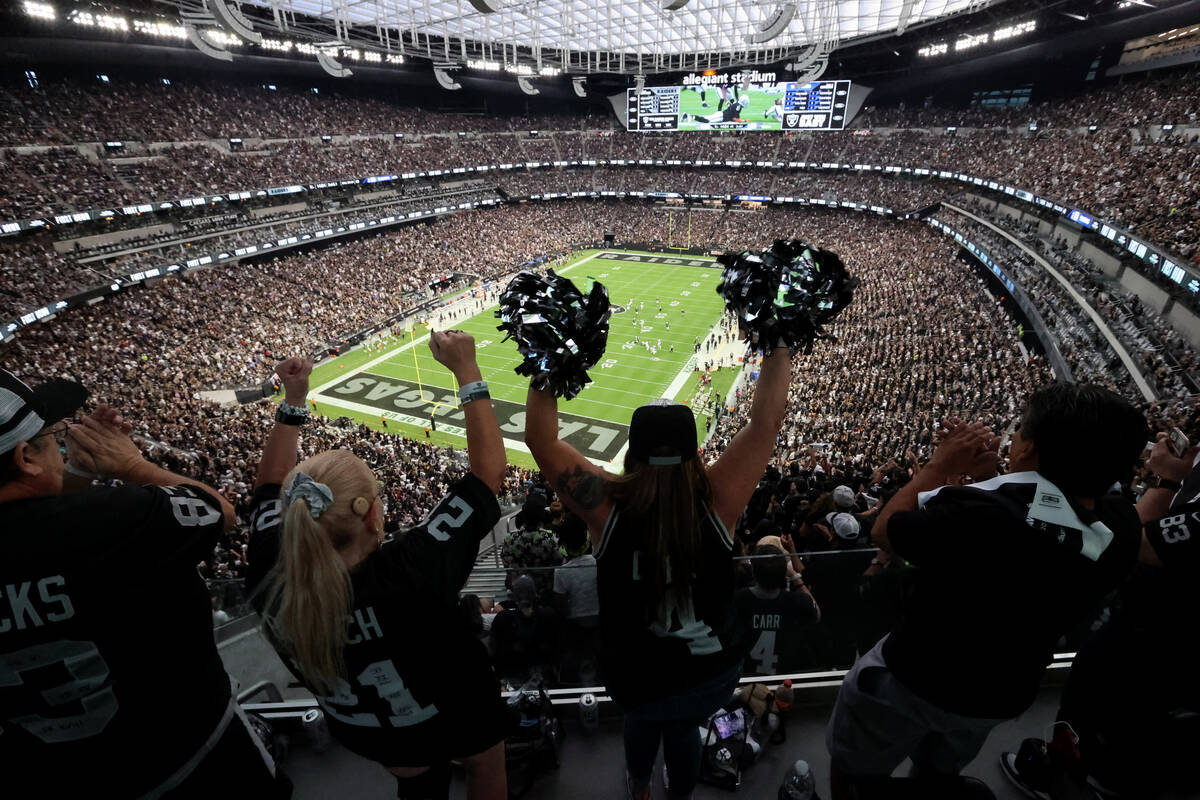 Fans cheer as the Raiders take on the Baltimore Ravens on Monday Night Football at Allegiant St ...