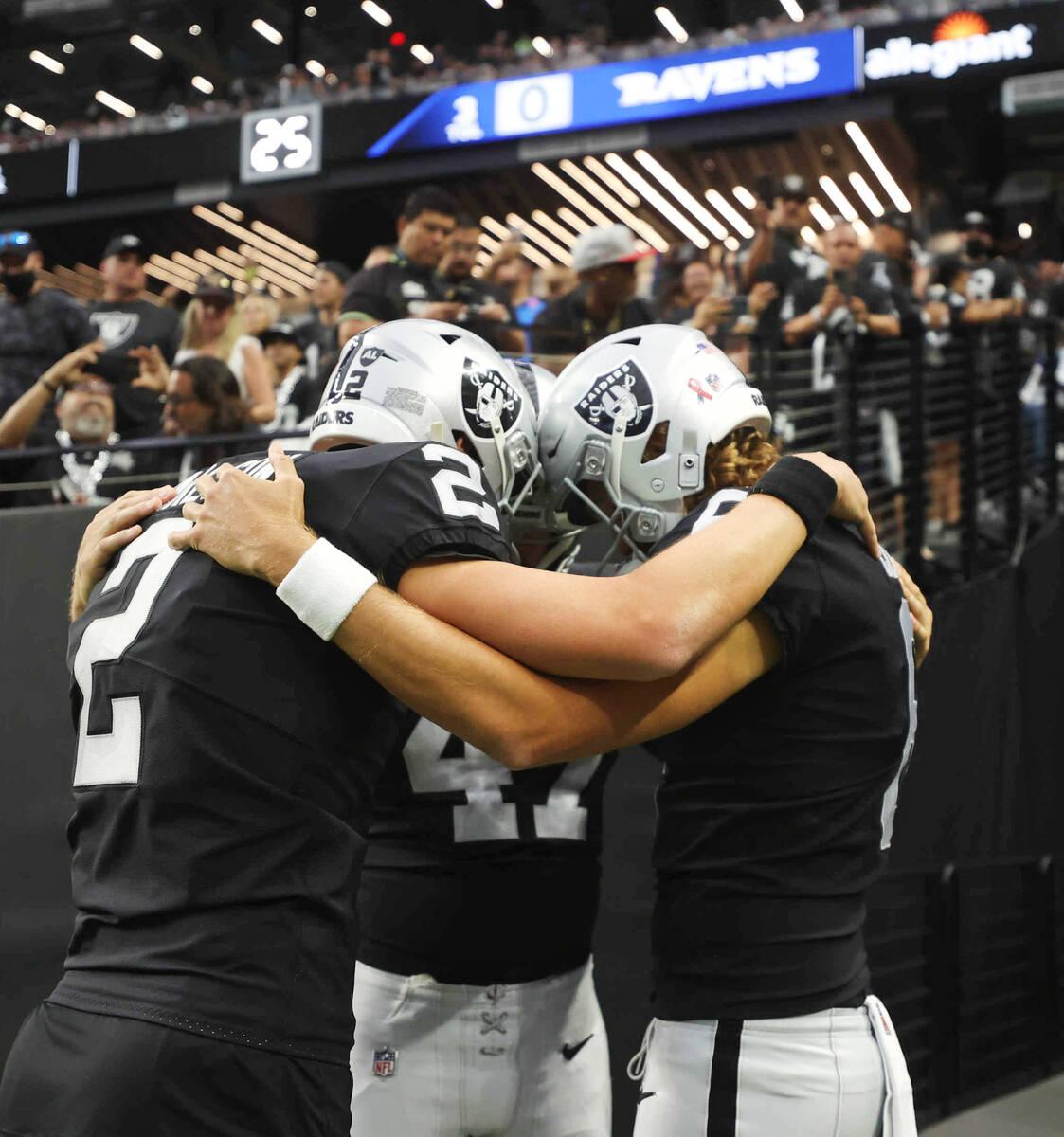 Raiders kicker Daniel Carlson (2), Raiders punter A.J. Cole (6) and Raiders long snapper Trent ...