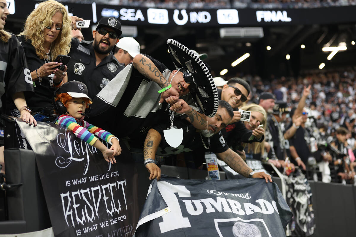 Raiders fans before an NFL football game between the Raiders and the Baltimore Ravens at Allegi ...