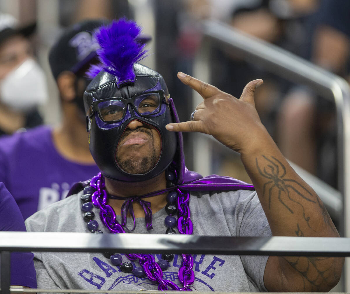 A Baltimore Ravens fan poses during the second quarter of an NFL football game against the Raid ...