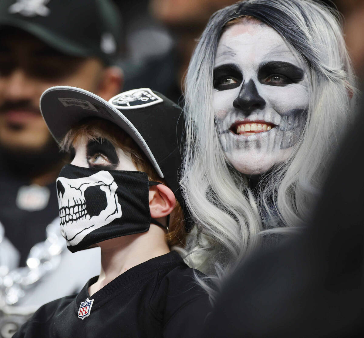 Raiders fans before an NFL football game between the Raiders and Baltimore Ravens at Allegiant ...