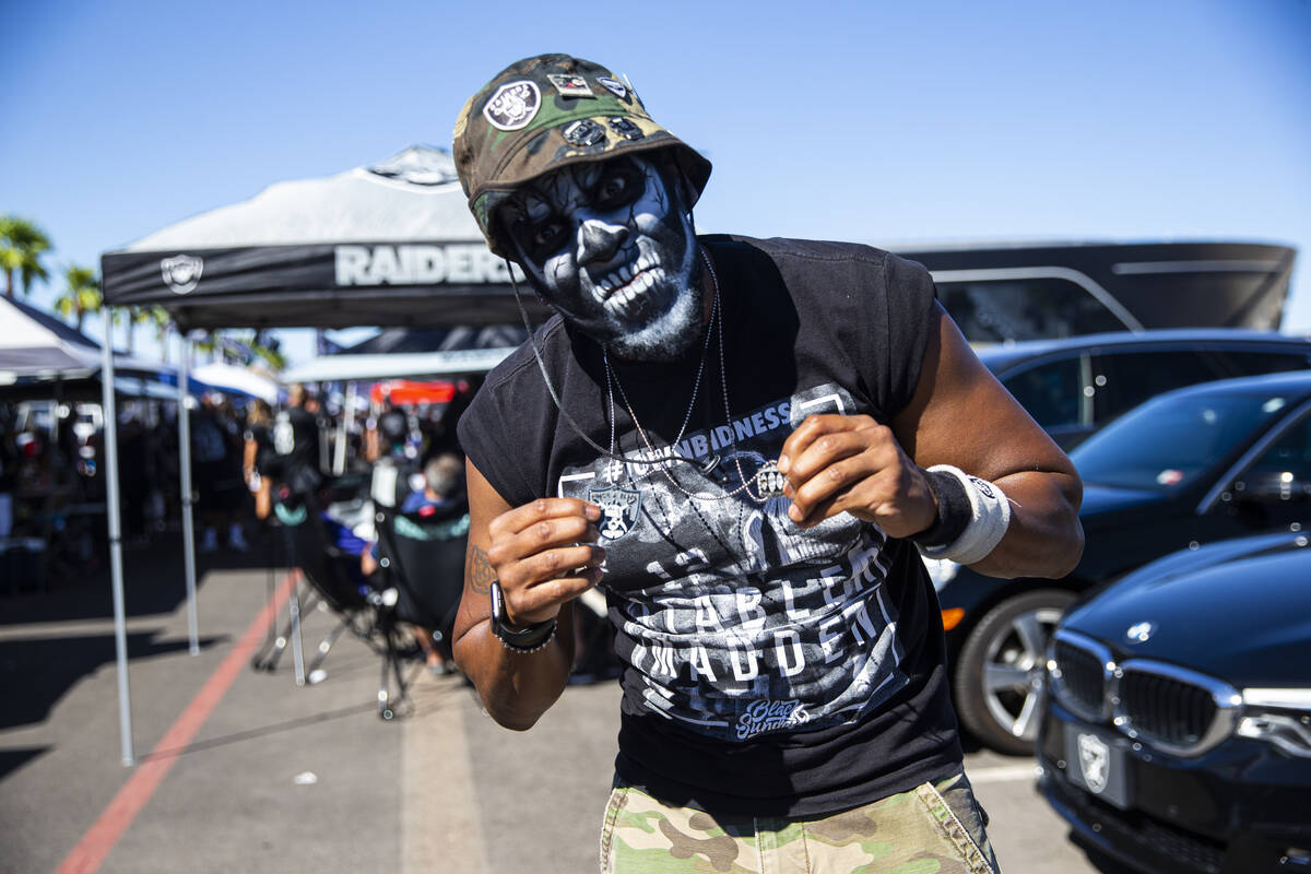 Al Thompson poses for a portrait during a tailgate before an NFL game between the Raiders and t ...