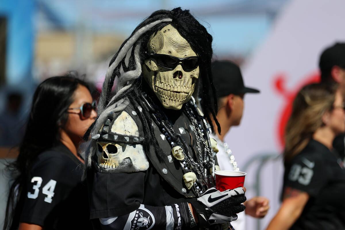 during an NFL football game at Allegiant Stadium, Monday, Sept. 13, 2021, in Las Vegas. (Erik V ...