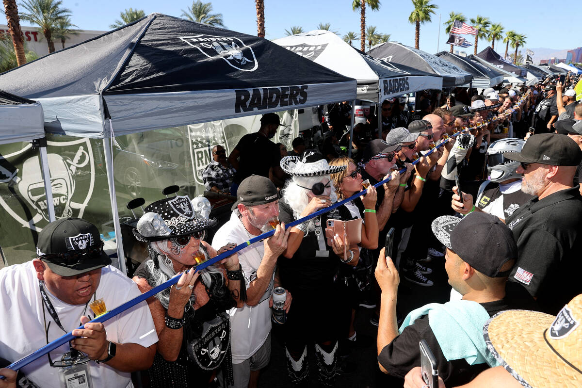 Fans take a group shot as the Raiders prepare to host the Baltimore Ravens on ÒMonday Nigh ...