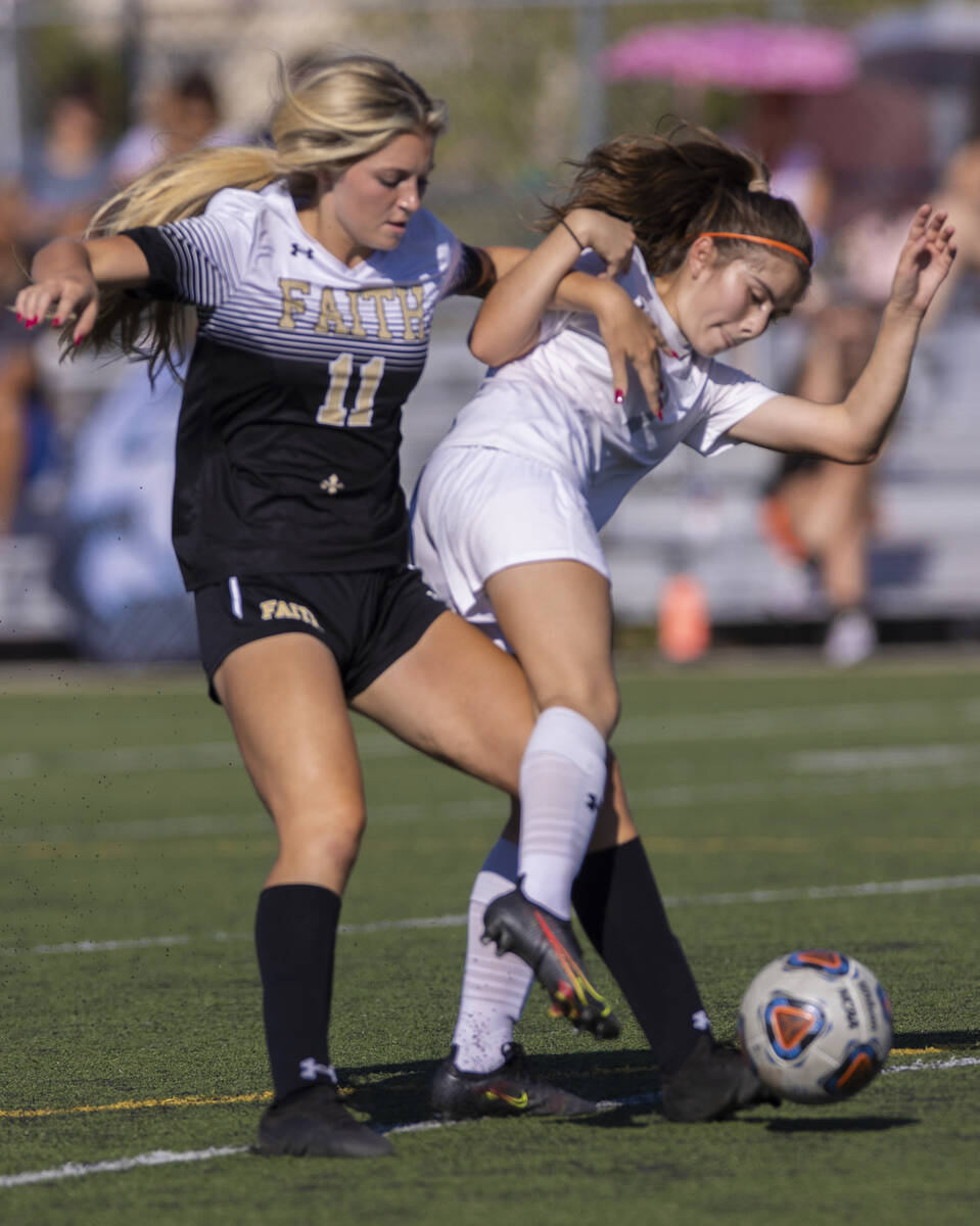 Arbor View's Carissa Ortega (7) fights for possession with Faith Lutheran's Brook ...