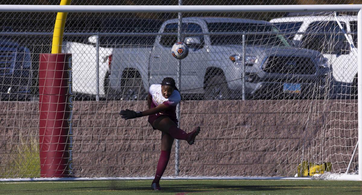 Faith Lutheran's Jordan Brown (47) makes a goal kick during a girls high school soccer g ...