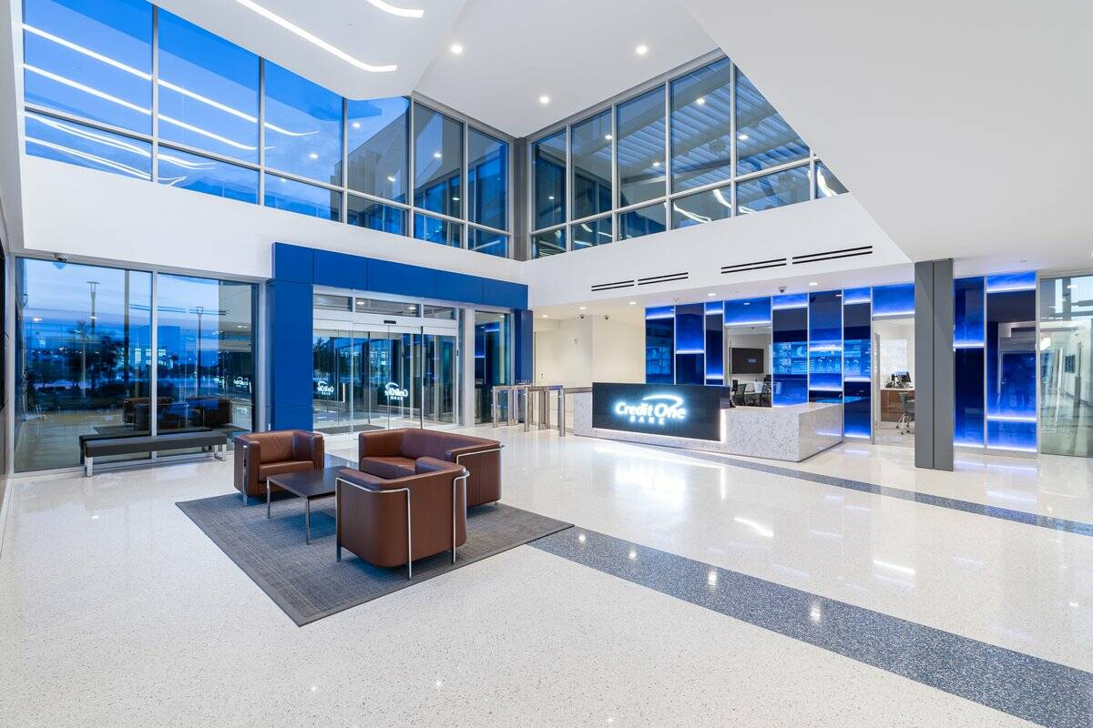 Construction of Credit One Bank's headquarters expansion has finished. The campus, seen here, ...