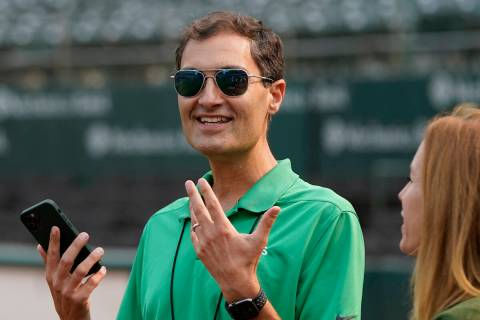 Oakland Athletics President Dave Kaval before a baseball game between the Athletics and the San ...