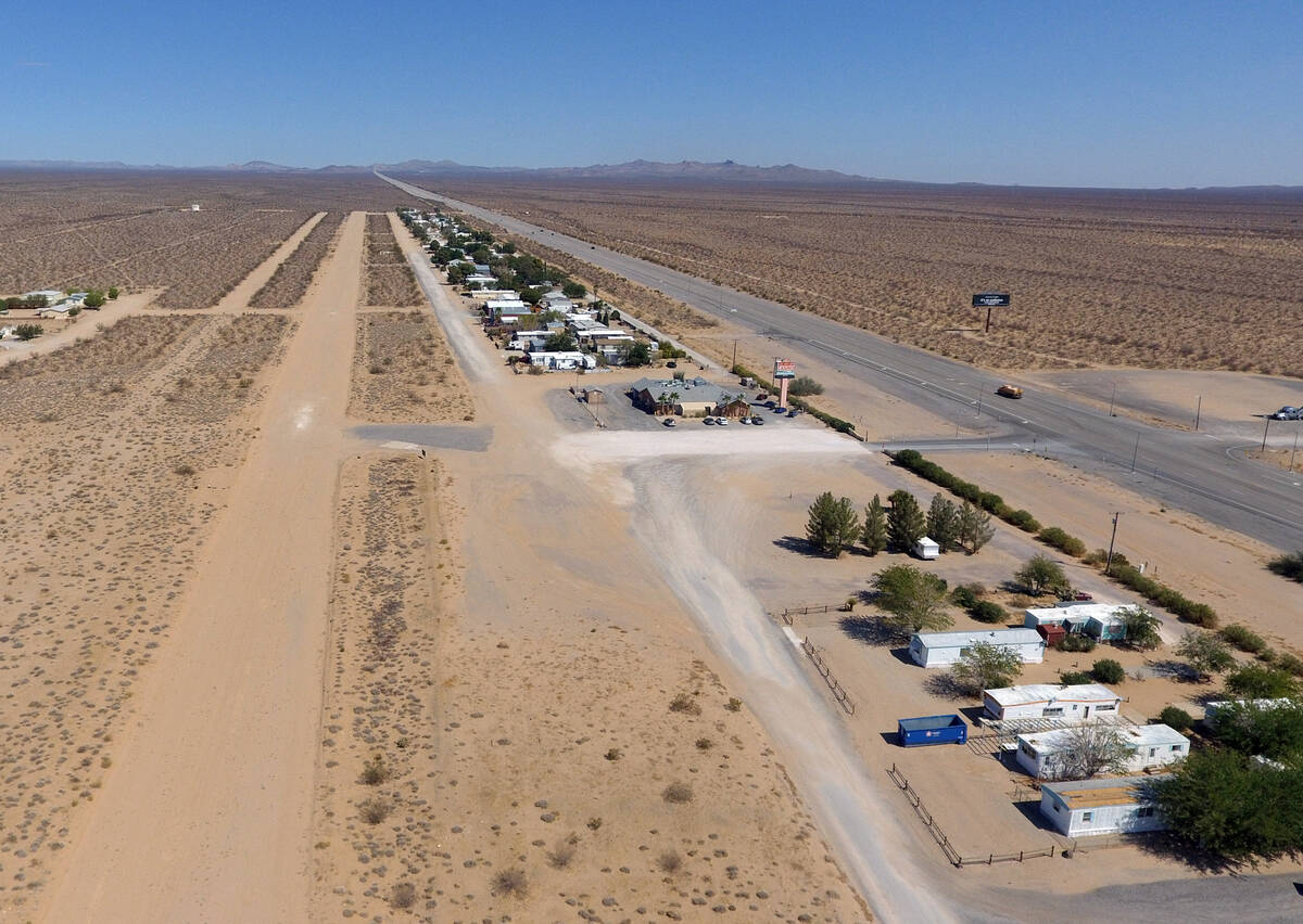 Unpaved airstrip is shown in Cal-Nev-Ari, a town, off a lonely stretch of Highway 95, on Thursd ...