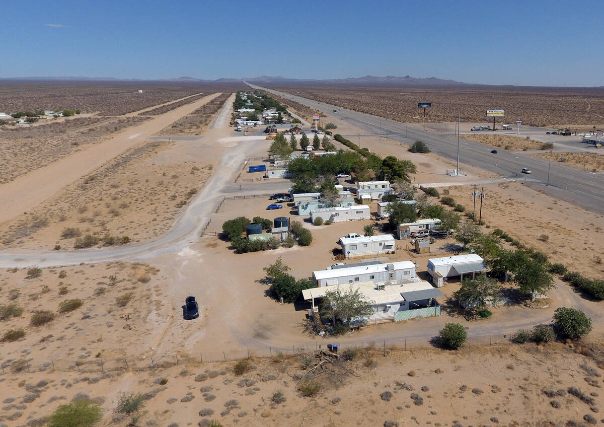 Cal-Nev-Ari, a town, off a lonely stretch of Highway 95, is shown on Thursday, Aug. 26, 2021, i ...