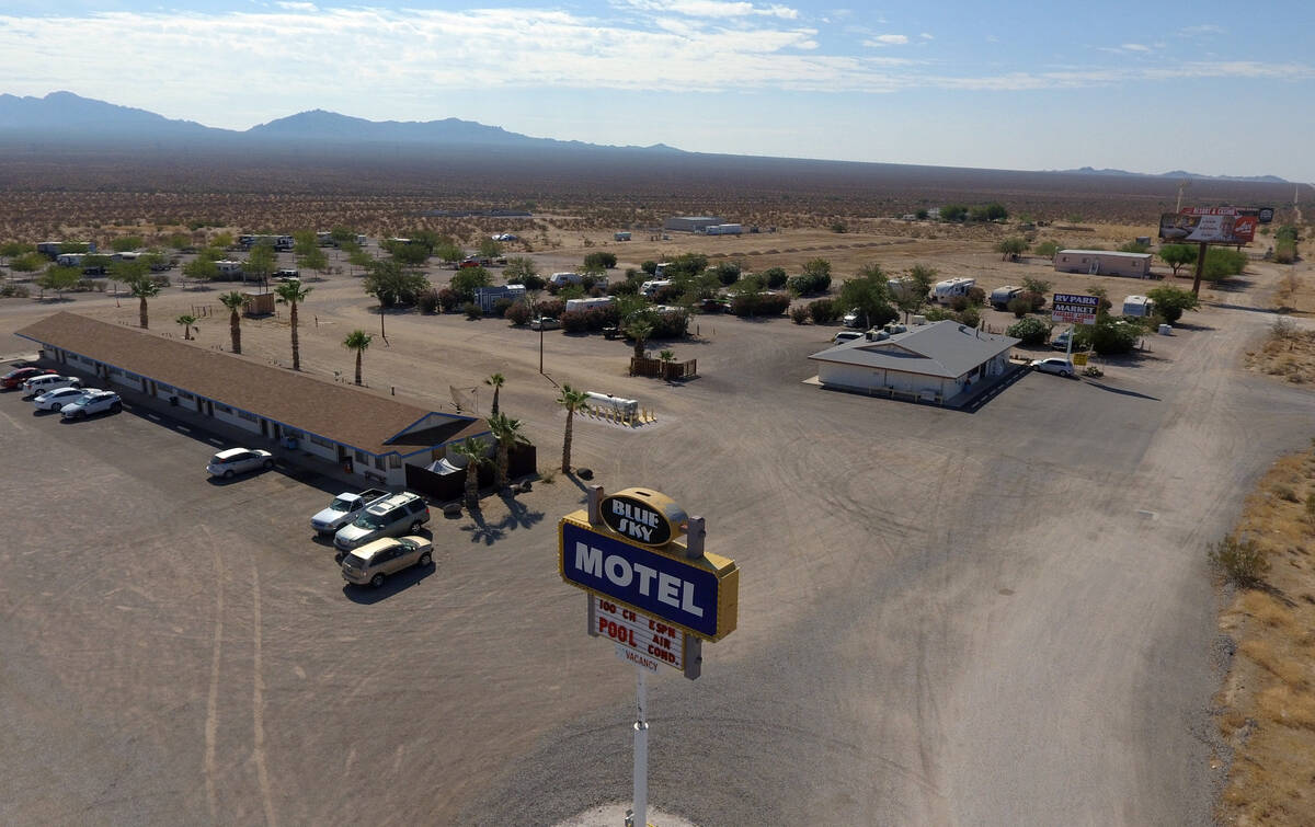 Blue Sky Motel in Cal-Nev-Ari, a town, off a lonely stretch of Highway 95, is shown on Thursday ...