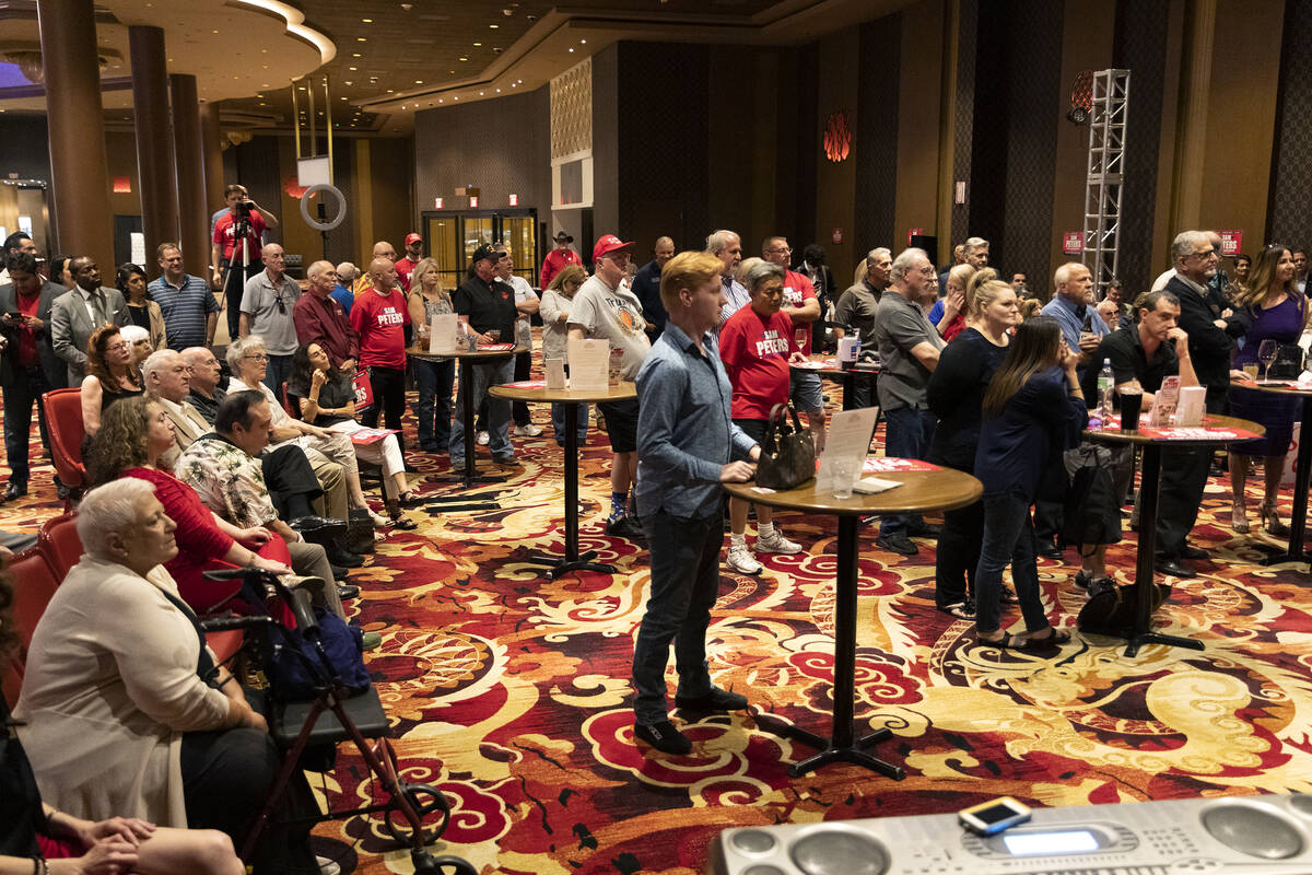 """People listen to speakers during the """"Fight for Freedom"""" Campaign Kickoff event at the Ahern Ho ..."""