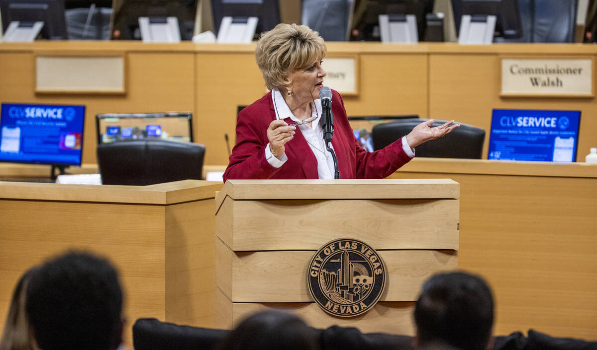 City of Las Vegas Mayor Carolyn Goodman speaks during a youth mental health conversation event ...